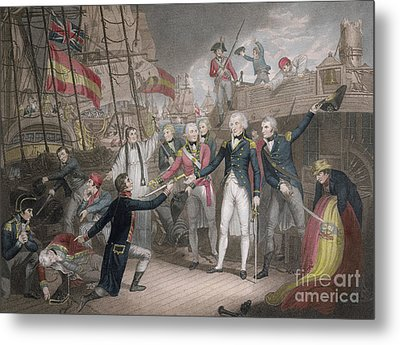 Admiral Nelson's Boarding The Two Spanish Ships, 14th February 1797 Metal Print