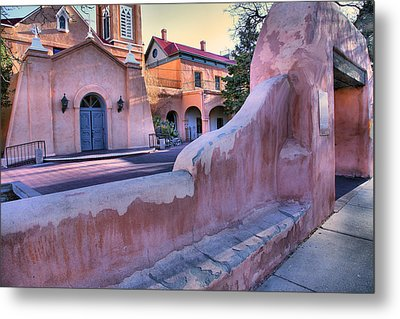 Adobe Wall And Felipe De Neri Church Metal Print