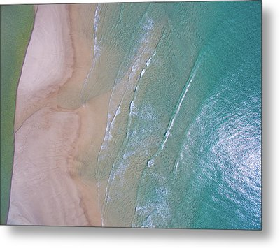Aerial View Of Beach And Wave Patterns Metal Print