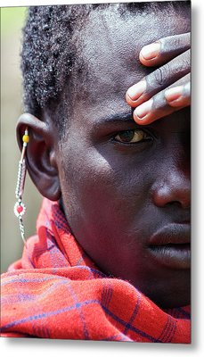 African Maasai Warrior Metal Print