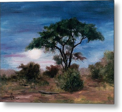 Metal Print featuring the painting African Moon by Brenda Thour