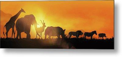 African Wildlife Sunset Silhouette Banner Metal Print by Susan Schmitz