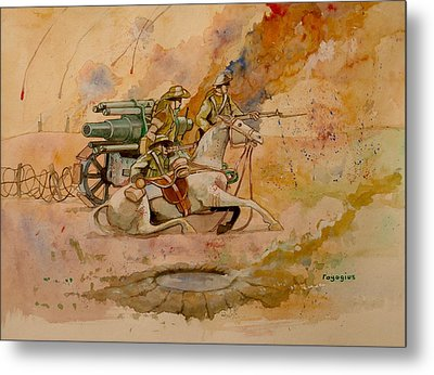 Metal Print featuring the painting After The Charge by Ray Agius