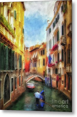 Metal Print featuring the digital art Ahh Venezia Painterly by Lois Bryan