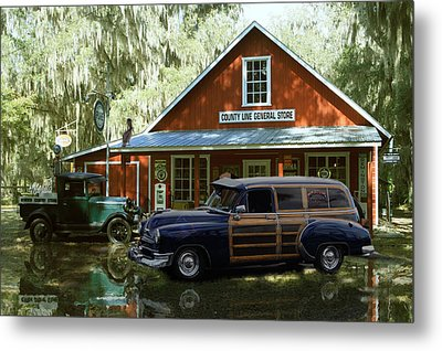 Air Brushed Woody At Country Store Metal Print by John Breen