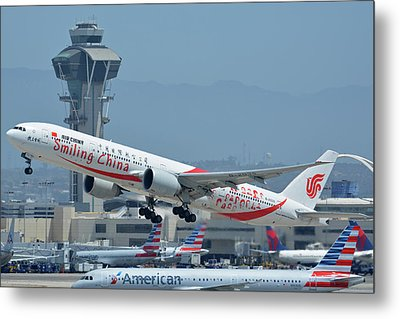 Metal Print featuring the photograph Air China Boeing 777-39ler B-2035 Smiling China Los Angeles International Airport May 3 2016 by Brian Lockett