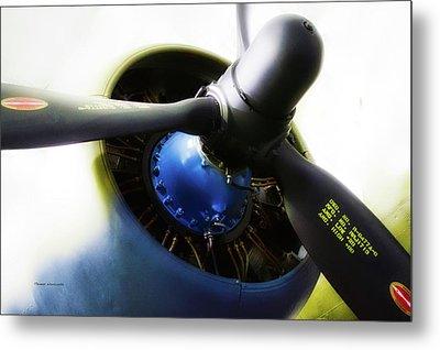Airplane Military C47a Skytrain Engine Propeller Metal Print