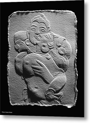 Metal Print featuring the relief Ajanta Lovers1 by Suhas Tavkar
