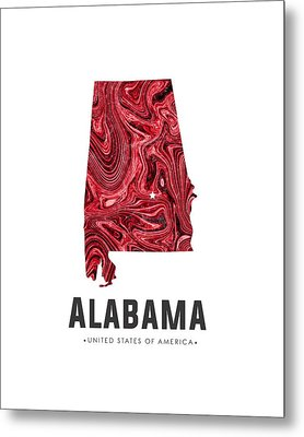 Alabama Map Art Abstract In Red Metal Print
