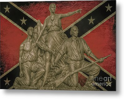 Alabama Monument Confederate Flag Metal Print by Randy Steele