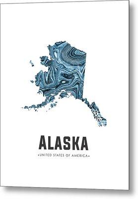 Alaska Map Art Abstract In Blue Metal Print