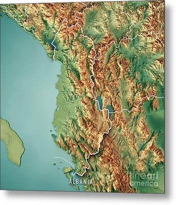 Albania Country 3d Render Topographic Map Border Metal Print