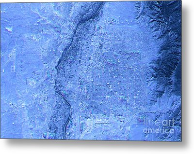 Albuquerque Abstract City Map Satellite Image Blue Detail Metal Print by Frank Ramspott