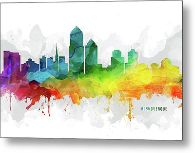 Albuquerque Skyline Mmr-usnmal05 Metal Print by Aged Pixel