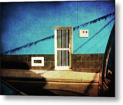 Metal Print featuring the photograph Alcala Blue Wall White Door by Anne Kotan