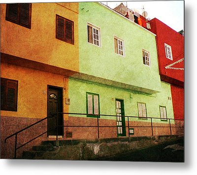 Metal Print featuring the photograph Alcala Orange Green Red Houses by Anne Kotan