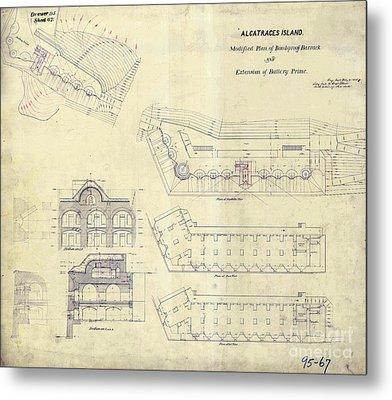 Alcatraz  Bomb Proof Barracks Drawing 1865   Metal Print