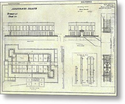 Alcatraz Defensive Barracks Drawing 1859 Metal Print