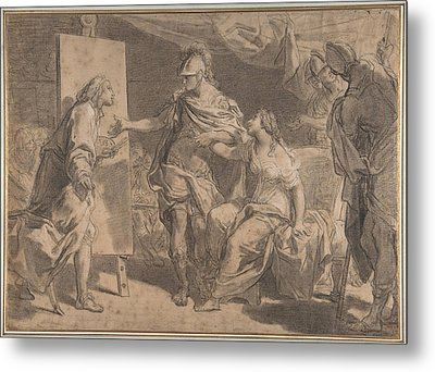 Alexander The Great Offering His Concubine Campaspe To The Painter Apelles Metal Print by Gaetano Gandolfi