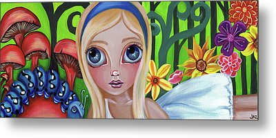 Alice Meets The Caterpillar Metal Print by Jaz Higgins