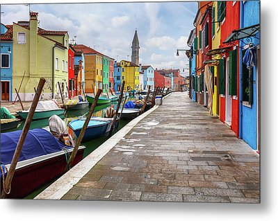 Along The Canal In Burano Island Metal Print by Evgeni Dinev
