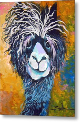 Metal Print featuring the painting Alpaca Punked by Patty Sjolin