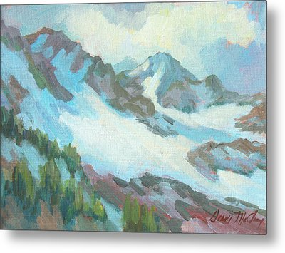 Metal Print featuring the painting Alps In Switzerland by Diane McClary
