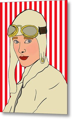 Amelia Earhart Metal Print by Nicole Wilson