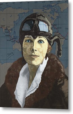 Amelia Earhart Metal Print by Suzanne Gee