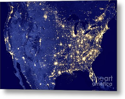 America By Night Metal Print by Delphimages Photo Creations