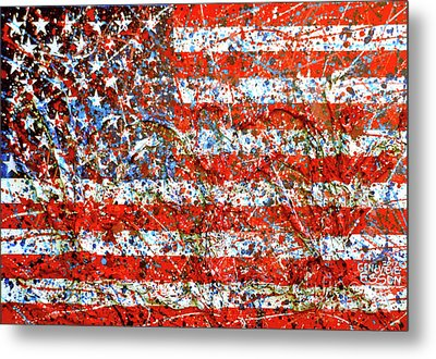 American Flag Abstract 2 With Trees  Metal Print
