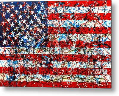 American Flag Abstract With Trees Metal Print by Genevieve Esson