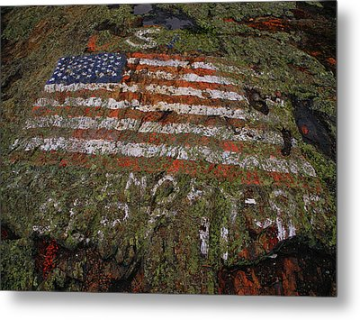 American Flag On Mount Shenandoah Metal Print by Raymond Salani III