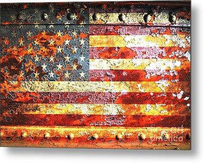 American Flag On Rusted Riveted Metal Door Metal Print