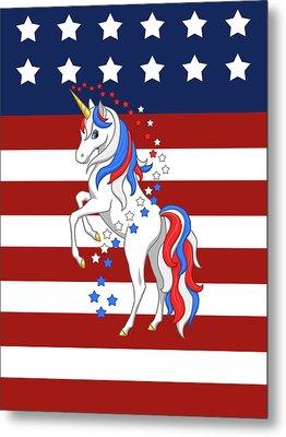 American Flag Patriotic Unicorn Metal Print