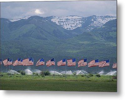 American Flags Honoring Veterans Metal Print by James P. Blair