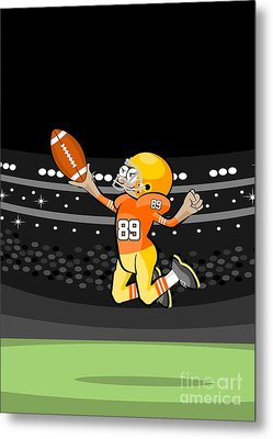 American Football Wide Receiver Leaping Up To Catch A Ball Metal Print