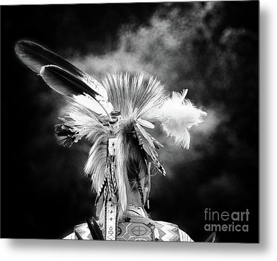 American Indian In Black And White Metal Print
