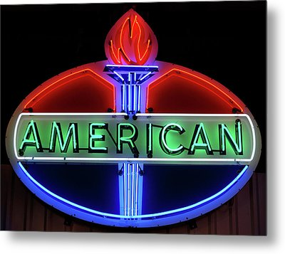 American Oil Sign Metal Print by Sandy Keeton