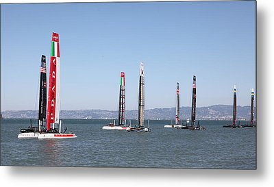 America's Cup Sailboats In San Francisco - 5d18205 Metal Print by Wingsdomain Art and Photography