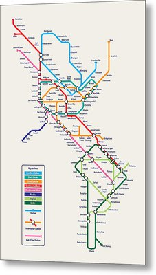 Americas Metro Map Metal Print by Michael Tompsett