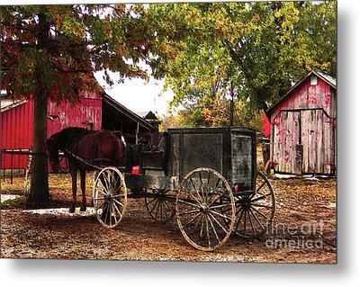 Amish Farm Wagon Metal Print