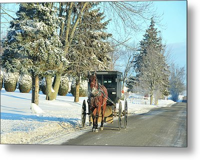 Amish Winter Metal Print