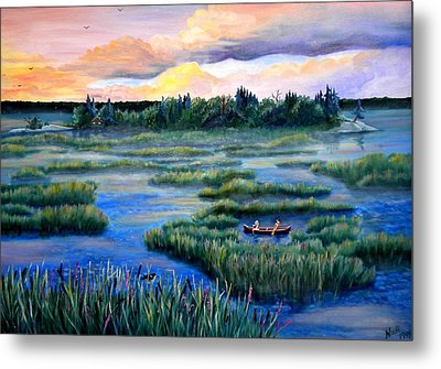 Amongst The Reeds Metal Print by Renate Nadi Wesley