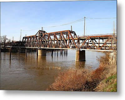 Amtrak California Crossing The Old Sacramento Southern Pacific Train Bridge . 7d11674 Metal Print by Wingsdomain Art and Photography