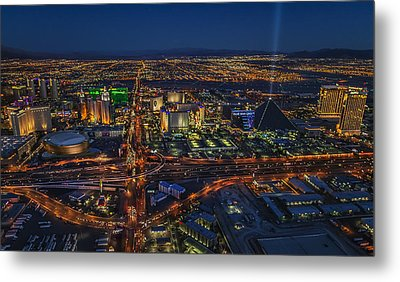 An Aerial View Of The Las Vegas Strip Metal Print by Roman Kurywczak