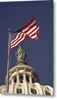 An American Flag And The Statue Metal Print by Medford Taylor
