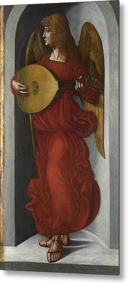 An Angel In Red With A Lute Metal Print