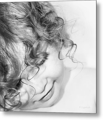 An Angels Smile - Black And White Metal Print by Kerri Ligatich