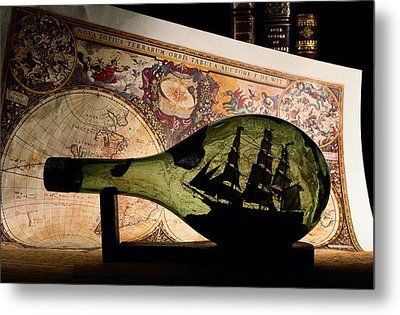 An Antique Map Provides The Backdrop Metal Print by Todd Gipstein
